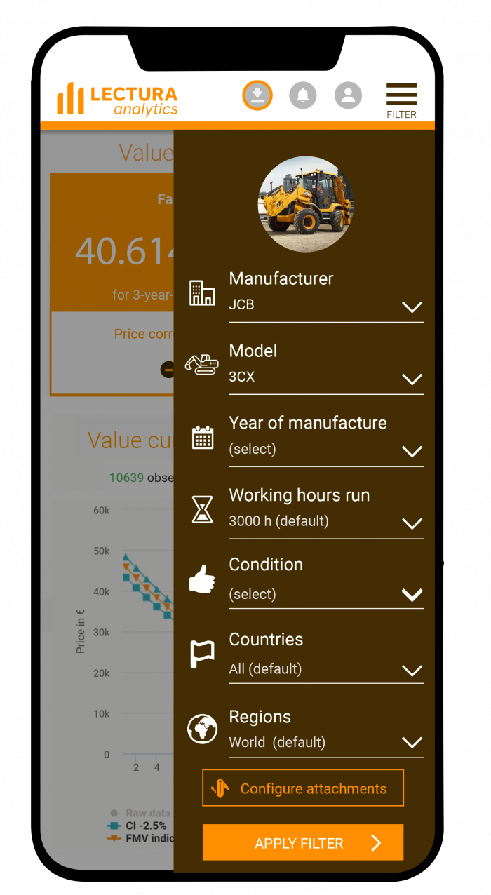 Mobile LECTURA Analytics filters